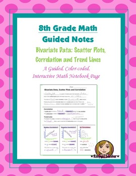 Math 8 Guided Interactive Math Notebook Page: Scatter Plots and Correlation (1)