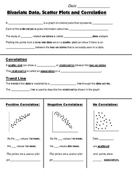 Math 8 Guided Interactive Math Notebook Page: Scatter Plots & Correlation Intro