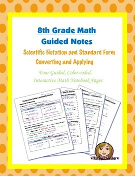 Math 8 Guided Interactive Math Notebook Pages: Scientific Notation