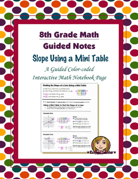 Math 8 Guided Interactive Math Notebook Page: Slope Using a Mini Table