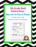 Math 8 Guided Interactive Math Notebook Page: Slope and Rate of Change