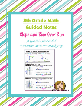 Math 8 Guided Interactive Math Notebook Page: Slope and Rise/Run