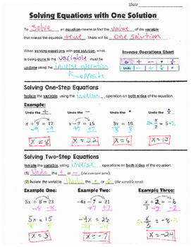 Math 8 Guided Interactive Math Notebook Pages: Solving Equations