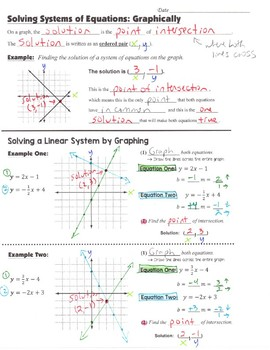 Math 8 Guided Interactive Math Notebook Page: Systems of Equations (1)