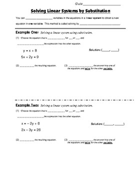 Math 8 Guided Interactive Math Notebook Page: Systems of Equations (5)