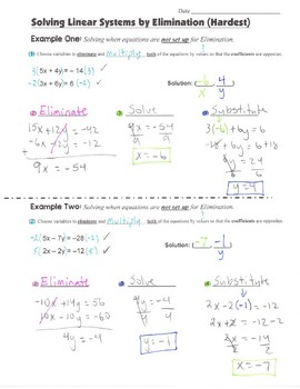 Math 8 Guided Interactive Math Notebook Pages: Systems of Equations (6)