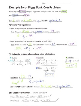 Math 8 Guided Interactive Math Notebook Pages: Systems of Equations (7)