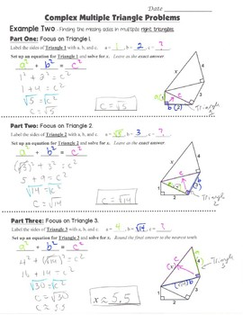 Math 8 Guided Interactive Math Notebook Pages: The Pythagorean Theorem - Complex
