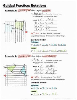 Math 8 Guided Interactive Math Notebook Pages: Transformations: Rotations