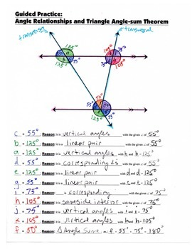 Math 8 Guided Interactive Math Notebook Pages: Triangle Angle-sum Theorem
