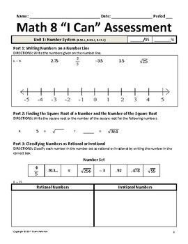 Math 8 I Can Pre/Post Assessment (Common Core)