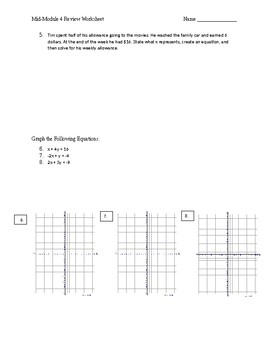Math 8 Mid Module 4 Review Worksheet