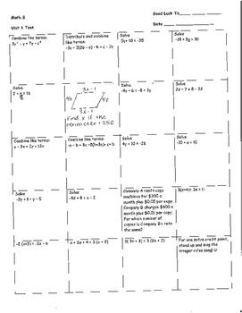 Math 8, Unit 1 Test