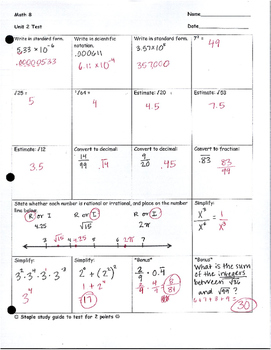 Math 8, Unit 2 Test