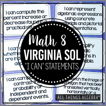 """2016 Math 8 Virginia SOL: """"I Can"""" Statements"""