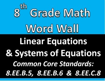 Math 8 Word Wall: Linear Equations & Systems of Equations Common Core Aligned