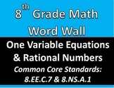 Math 8 Word Wall: One Variable Equations & Rational Numbers Common Core Aligned