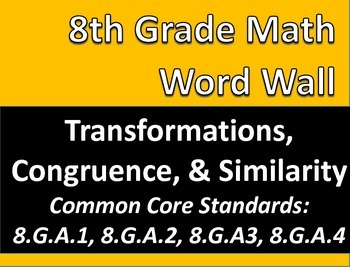 Math 8 Word Wall: Transformations, Congruence, Similarity Common Core Aligned