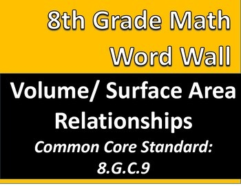 Math 8 Word Wall: Volume & Surface Area Relationships Common Core Aligned
