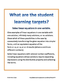 Equations 8.EE.7 Challenging Exit Tickets Mini Quizzes Packet Pre Algebra