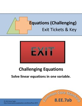 Equations 8.EE.7 Challenging Exit Tickets Mini Quizzes Pac