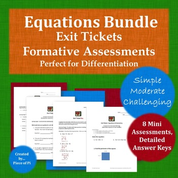 Equations 8.EE.7 Exit Ticket Bundle Differentiation Simple Moderate Challenging