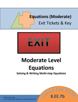 Equations 8.EE.7 Moderate Level Exit Ticket Mini Quiz Pack
