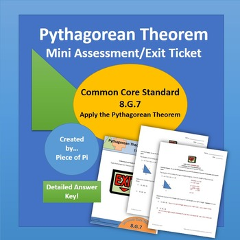 Pythagorean Theorem Converse Math 8.G.7 Exit Ticket/Mini Quiz Geometry Test Prep