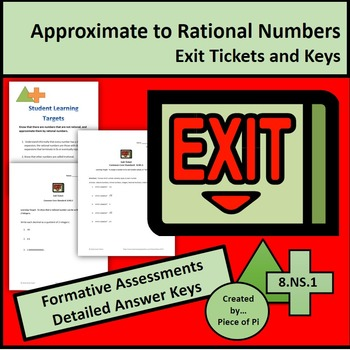 Math 8.NS.1 Exit Ticket Mini Quiz Set Rational Irrational Numbers Test Prep