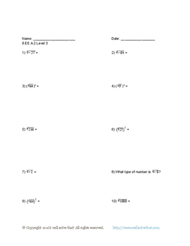 Math: 8th Grade Expressions and Equations 8.EE.A.2 Five Worksheets