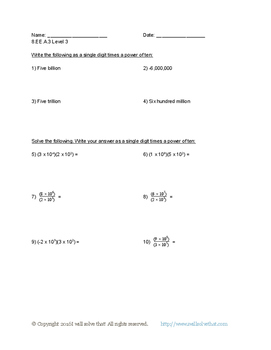 Math: 8th Grade Expressions and Equations 8.EE.A.3 Five Worksheets