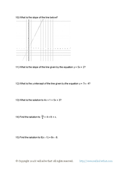 Math 8th Grade: Expressions and Equations Unit Test