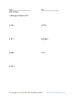 Math: 8th Grade Radicals and Integer Exponents Quiz Packet