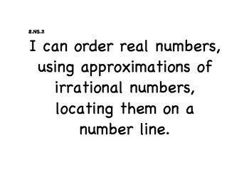 "Math - Alaska Standards: 8th Grade ""I can statements"""