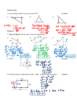 Math 9 Quiz: Naming/Labelling Triangles and Pythagoras with FULL SOLUTIONS