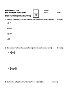 Math 9 Quiz: Rational Numbers and Square Roots with FULL SOLUTIONS