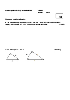 Math 9 Quiz: Scale Factoring, and Similar Triangles with FULL SOLUTIONS