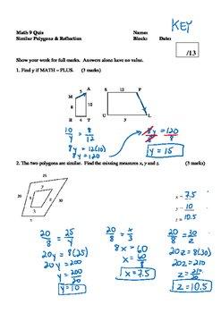 Math 9 Quiz: Similar Polygons, Reflection, and Rotation Quiz with FULL SOLUTIONS