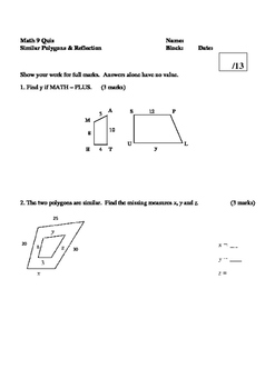 Math 9 Quiz: Similar Polygons, Reflection, and Rotation Qu