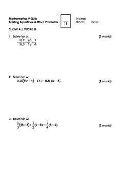 Math 9 Quiz: Solving Equations & Word Problems with FULL SOLUTIONS