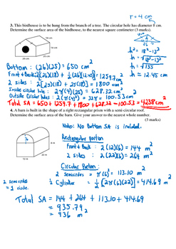 Math 9 Quiz: Surface Area Quiz with FULL SOLUTIONS