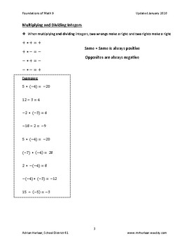 Math 9 - Section 1.1 - Operations with Integers and Order of Operations