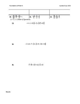 Math 9 - Section 1 - Test