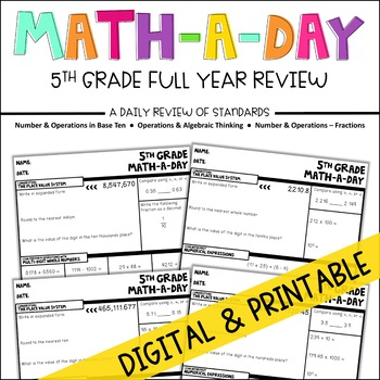 Math-A-Day: A Daily Spiral Review of 5th Grade Standards