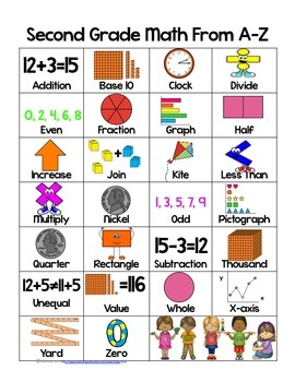 Math ABCs for Second Grade in Color and Black and White