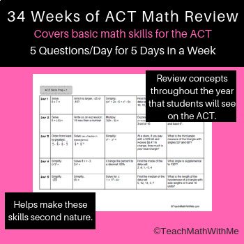Math ACT Prep - 5-A-Days Basic Math Skills Review -- Full Year - ACT Math