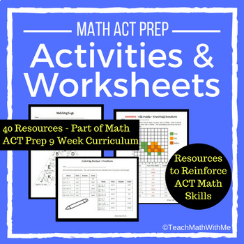 Math ACT Prep Activities and Worksheets BUNDLE - ACT Math Skills