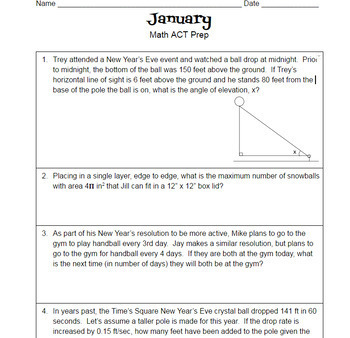 January & Winter Theme-Math ACT Prep Worksheet-Practice Questions for Math Prep