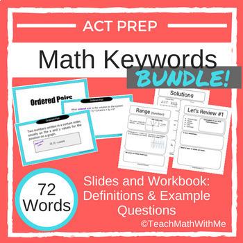 Math ACT Prep Keywords Slides and Workbook - BUNDLE - 72 Words/Questions