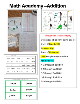 Math ADDITION Academy-timed drills,snakes n ladders, flash cards,& data chart